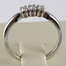 White Gold Ring 750 18K, Trilogy 3 Diamonds Carat Total 0.20, Shank Square image 4