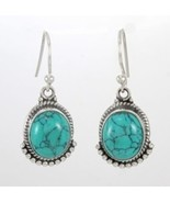 Kanika Jewelry Trove Turquoise Cabochon Gemstone 925 Sterling Silver Ear... - $22.99