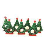 Set of 7 Green Christmas Tree Standing w/Gold Star Ceramic Napkin Ring H... - $31.68