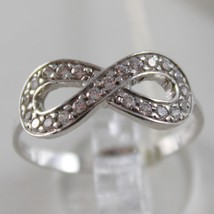 SOLID 18K WHITE GOLD BAND INFINITE RING LUMINOUS ENDLESS INFINITY MADE IN ITALY image 1