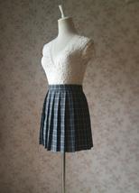NAVY Blue PLAID Skirt Pleated Plaid Skirt School Mini Plaid Skirt US0-US16 image 9