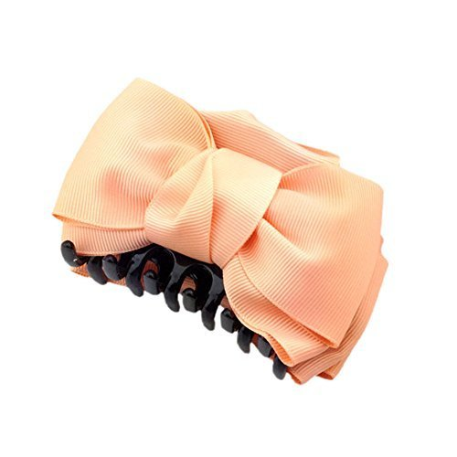 [Set Of 2] Handmade Bowknot Jaw Clip Hair Styling Claws, 3.7 inches, ORANGE