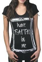 Gods Mani da Donna Nero Have Faith IN Me T-Shirt USA Nwt