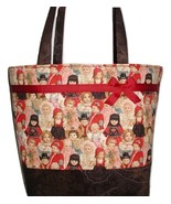 Victorian Dolls Diaper Bag Tote Little Girls Brown Pink Red Gold Doll Large - €57,87 EUR