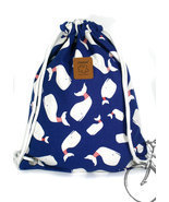 Whale Canvas drawstring bag Rucksack bag  yoga bag Elephant backpack - $20.07 CAD
