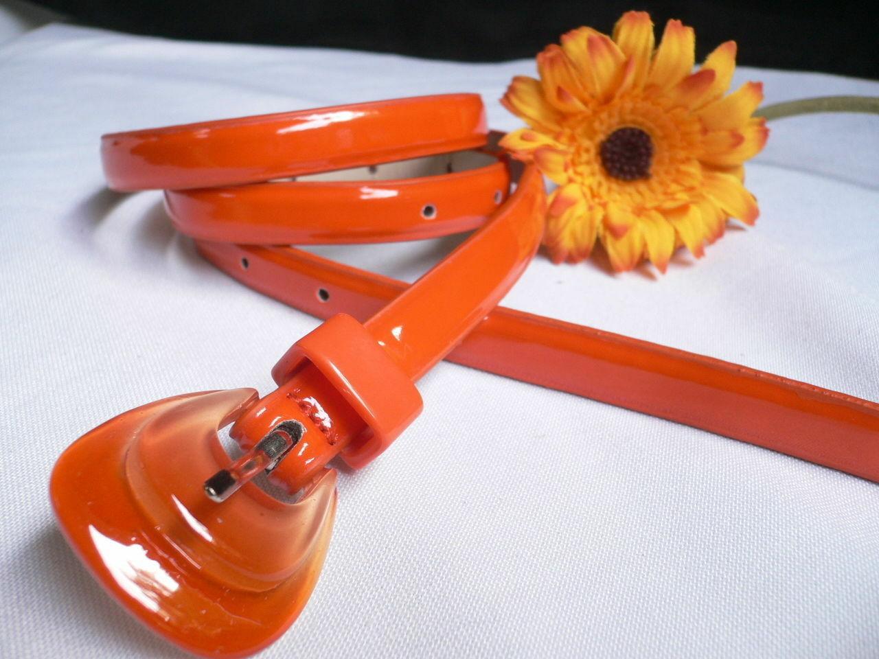 Neu Damen Mode Gürtel Trendy Skinny Hell Orange Kunstleder Schnalle S M image 4