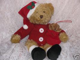 Christmas Vtg Hallmark Bear Red Sweater-Velvet Black Boots/Cap-Little Be... - $12.00