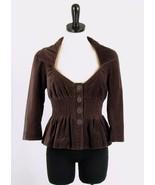 ELEVENSES Anthropologie Size 6 Vintage-Look Brown Velvet Smocked Jacket - $27.99