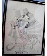 Fantasy Dragon Original Ink Drawing Standing Framed Art Janette Dorman '... - $35.95
