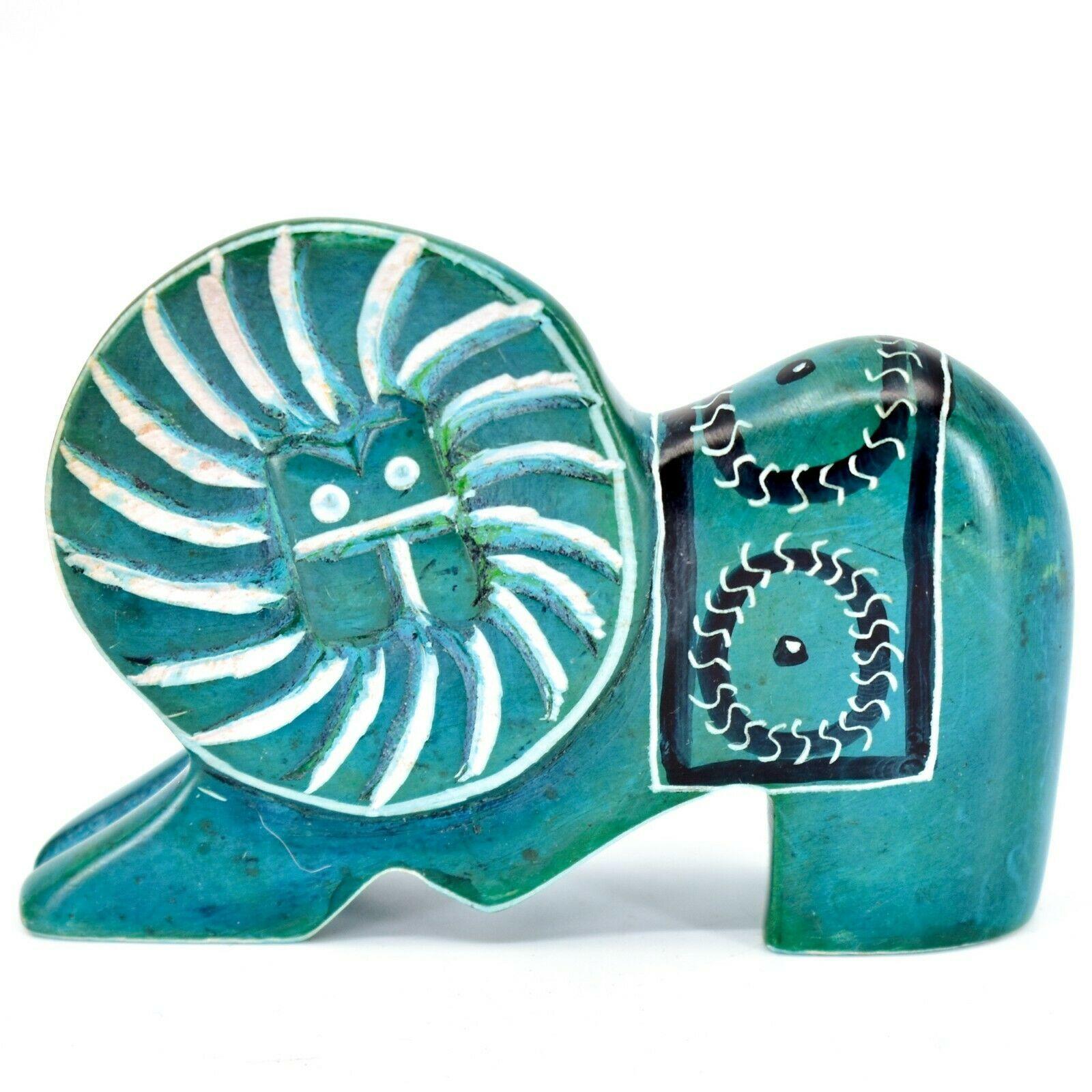 Crafts Caravan Hand Carved Soapstone Turquoise Elephant Figurine Made in Kenya