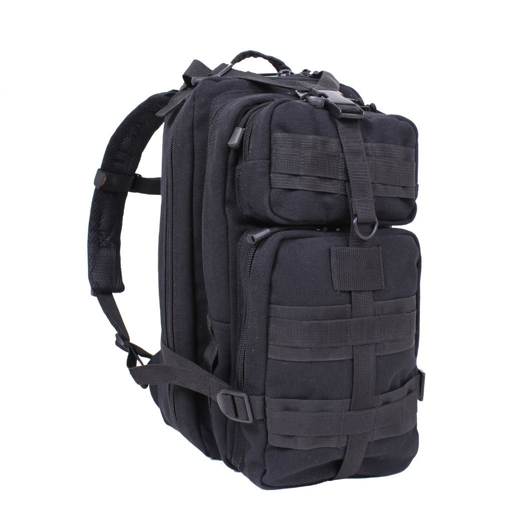 Black Canvas Outfitter Airsoft Army Military School Backpack Bookbag Day Go Pack