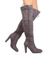 Betani Womens Over the Knee Boots Faux Suede High Heel Lace Up Gray Taupe  - $33.59