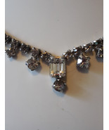 Vintage White Emerald Cut Rhinestone in Silvertone Tennis Chain Necklace - $14.99