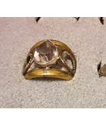 Vintage pear cut Amethyst Solitaire in 3 tone brass size 6 - $4.99