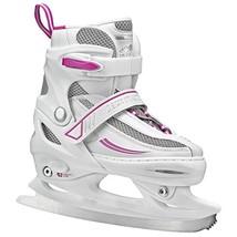 Lake Placid Summit Girls Adjustable Ice Skate, White/Purple, Large/5-8 - $53.11