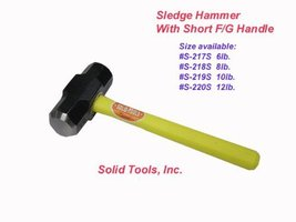 An item in the Home & Garden category: 8 LB. Sledge Hammer with Fiberglass Handle-Short Handle by Forgecraft USA