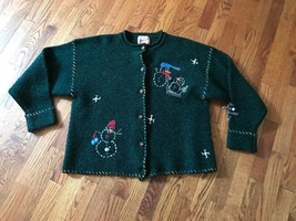 Vintage Womens Woolrich Wool Green Ugly Christmas Sweater Button Up Card... - $703,87 MXN