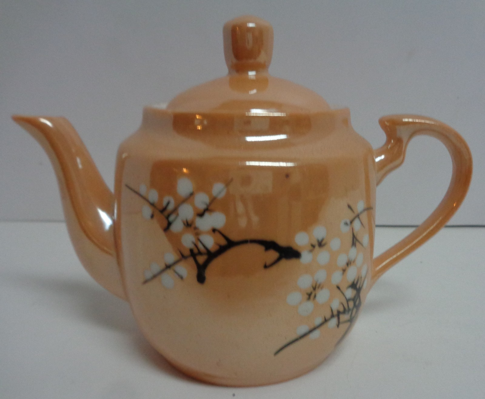 Lusterware China CHERRY BLOSSOM Peach Porcelain Tea Pot