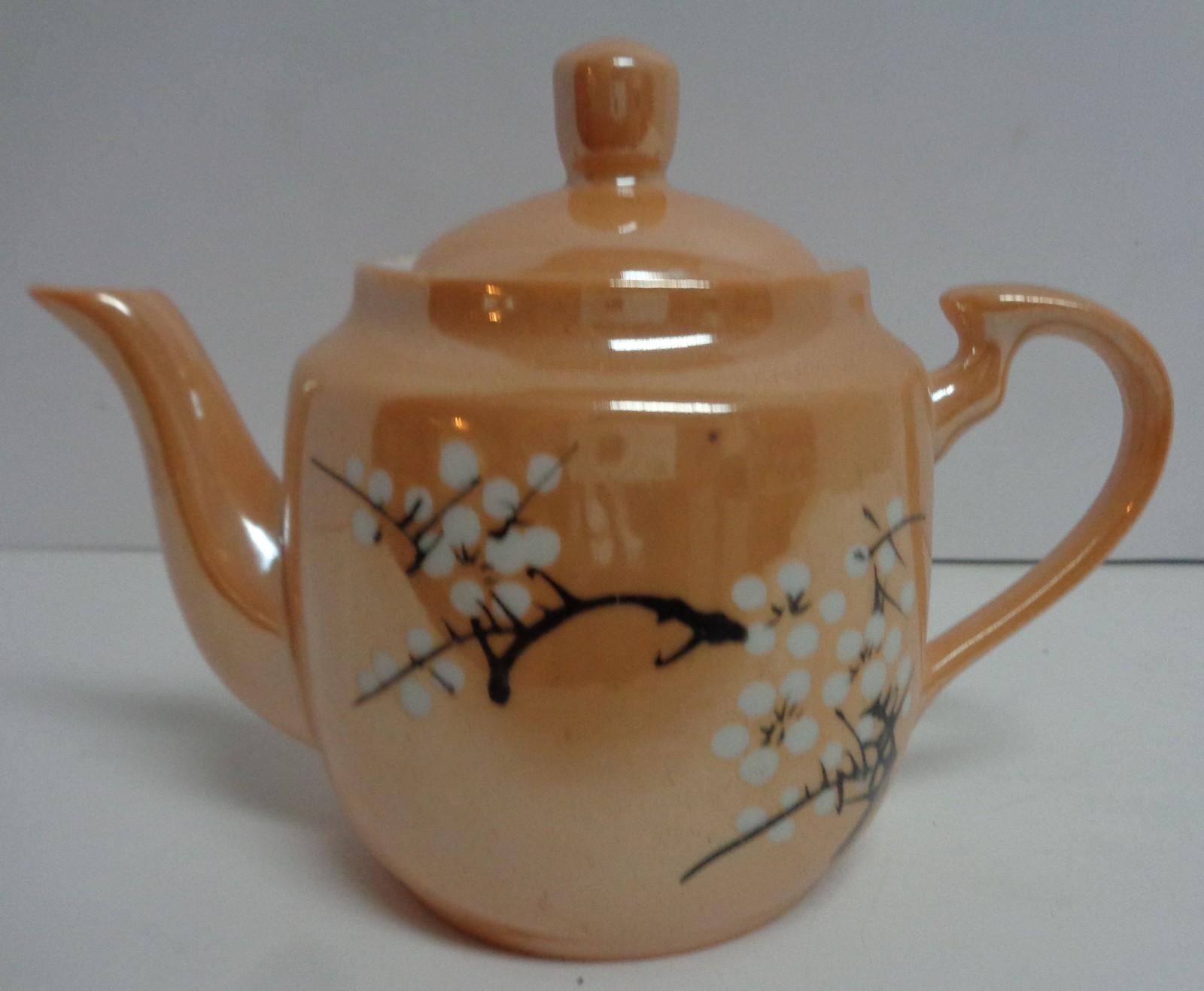 Lusterware China CHERRY BLOSSOM Peach Porcelain Tea Pot