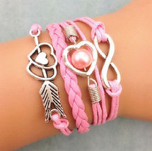Inifinity Hearts and arrow  Inspirational, Charm multi layer Bracelet New - $7.00