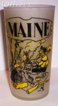 1960'S RETRO HAZEL ATLAS-- FROSTED SOUVENIR GLASS MAINE (SPRUCEWORLD LODGE) - $17.45