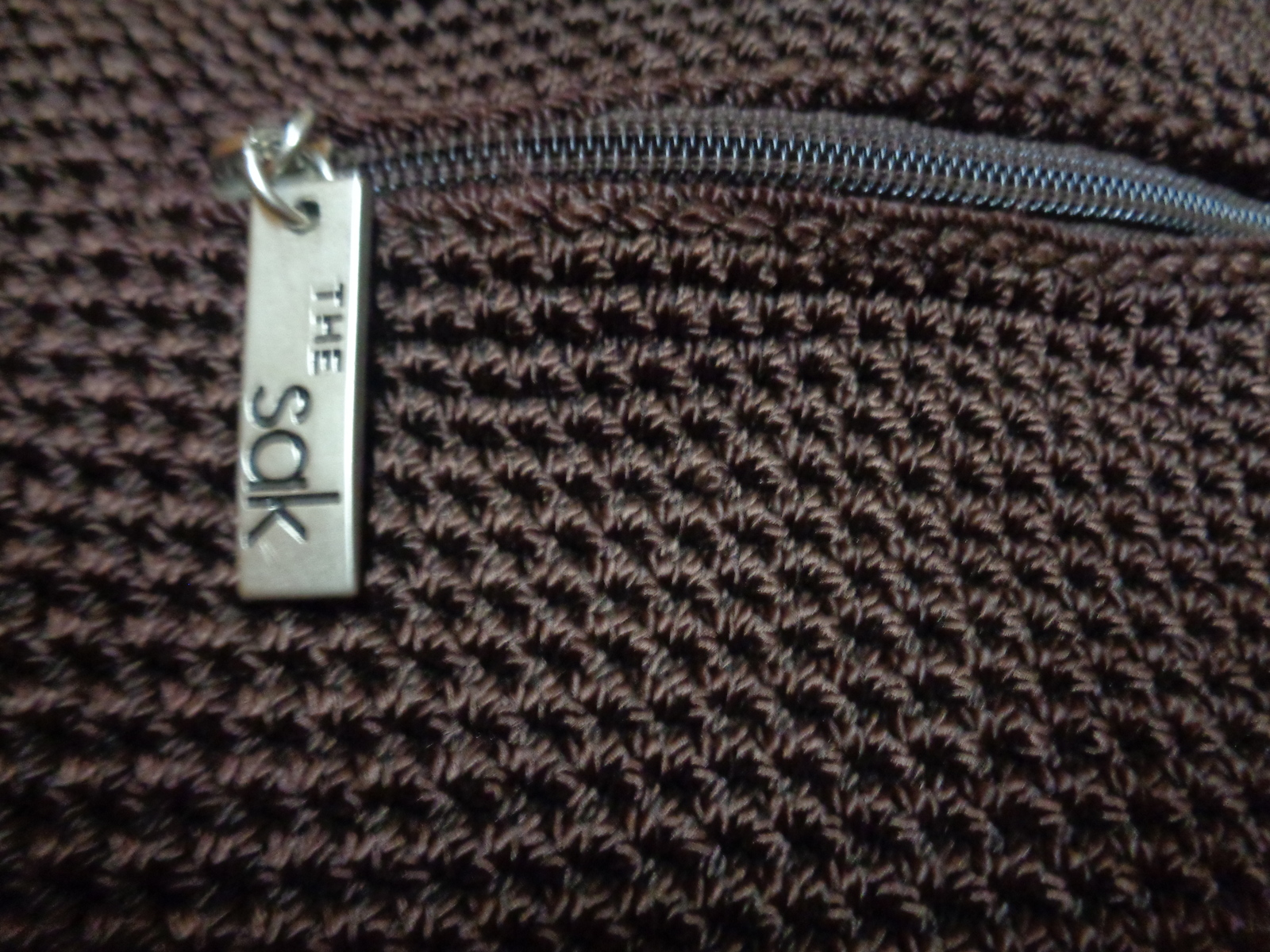 THE SAK Chocolate Brown Crochet Shoulder Handbag Purse NWOT