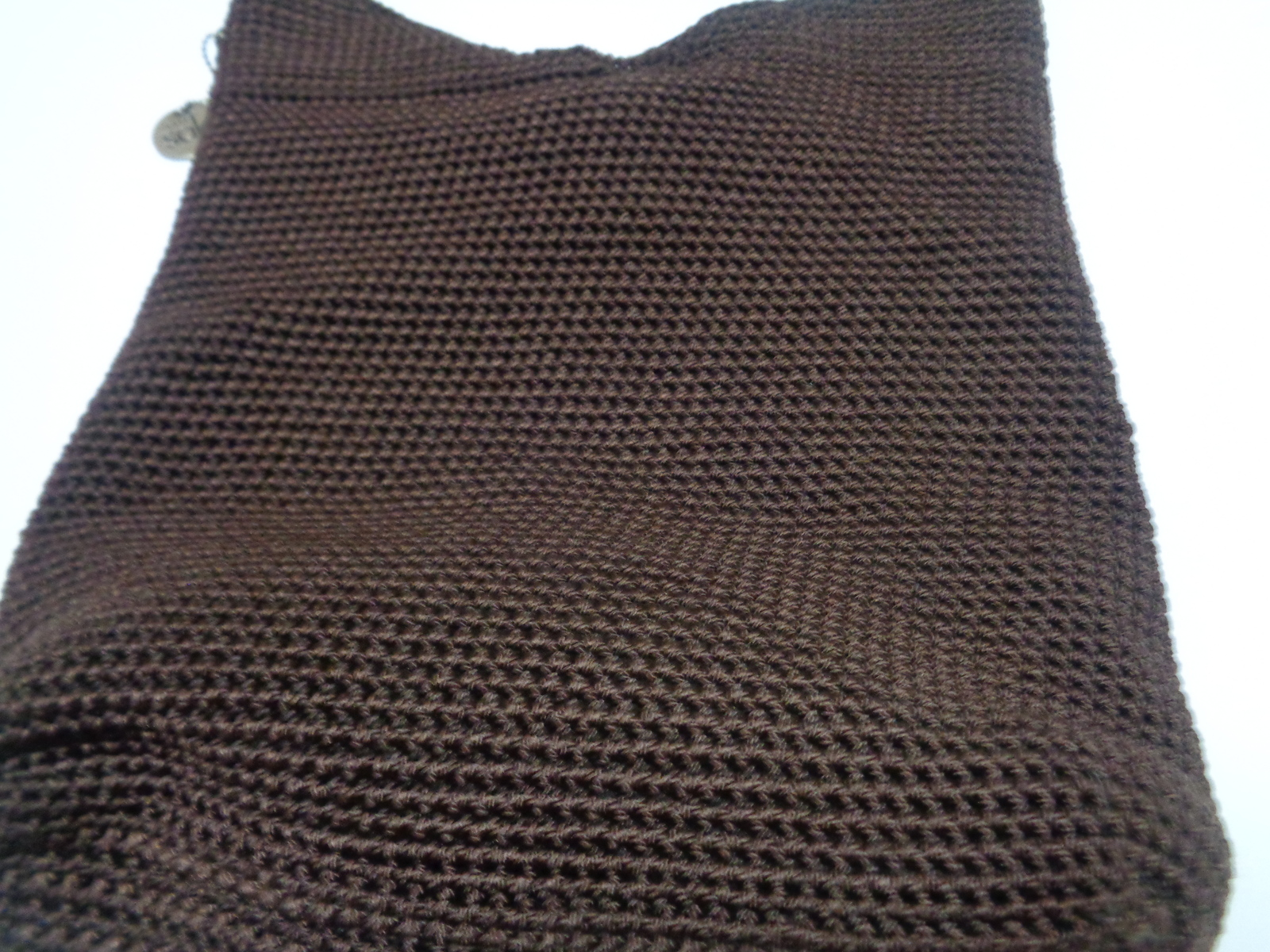 THE SAK Chocolate Brown Crochet Shoulder Handbag Purse NWOT