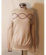 Athleta Momentum Wool Mock Turtleneck Top Beige Wine Embroidered Sweater... - $26.80