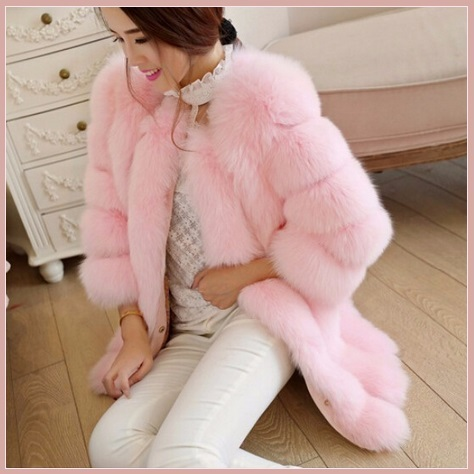 Long Full Pelt Blush Pink Fox Faux Fur with O Neck Long Sleeves Luxury Fur Coat
