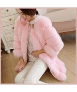 Long Full Pelt Blush Pink Fox Faux Fur with O Neck Long Sleeves Luxury F... - $228.18