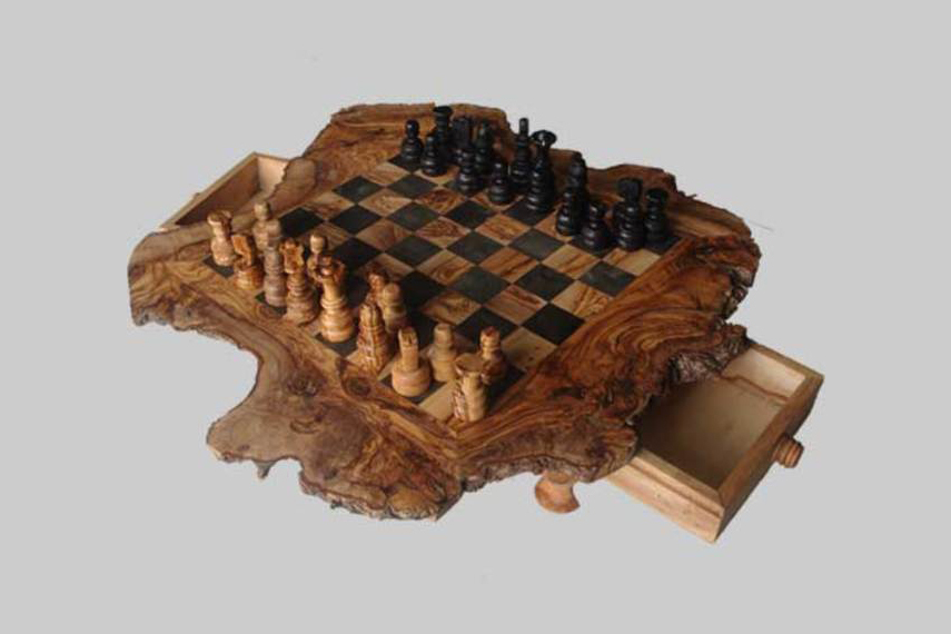 Olive Wood Rustic Chess Set - Medium Size for sale  USA