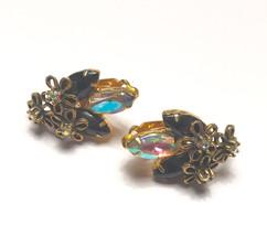 Juliana D & E AB and Black Rhinestone Earrings Star Flower Overlay - $25.50