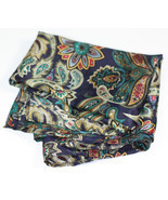Paisley Scarf Navy Multi Color Square Polyester Vintage - $6.00