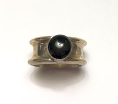 Black Cabochon Sterling Ring Modernist Style Mexico Size 7 Vintage - $30.00