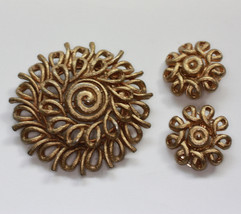 Coro Gold Tone Swirl Brooch and Earrings Set Vintage - $30.00
