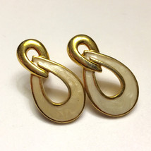 Ivory Enameled Gold Tone Swirled Drop  Post Earrings Avon Vintage - $13.00