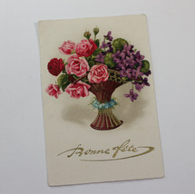 Antique Bonne Fete Birthday Greetings Postcard Bouquet of Flowers Embossed - $7.00