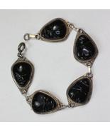 Black Glass Face Mask Bracelet Sterling Links Tribal Boho Vintage - $45.00