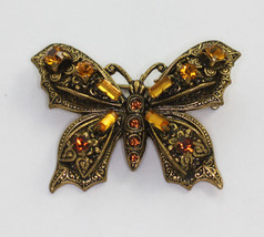 Topaz Rhinestone Butterfly Brooch Pin Vintage Insect Jewelry Germany - $30.00