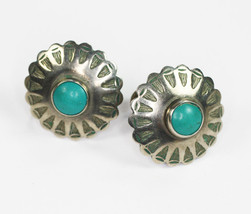 NA Design Turquoise and Sterling Earrings Round Incised Screw Back Vintage - $30.00