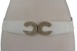 Women White Skinny Belt Elastic Faux Leather Gold Metal Buckle Hip Waist M L XL - $16.64