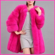Long Full Pelt Fire Pink Fox Faux Fur O Neck with Long Sleeves Luxury Coat