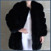 Long Full Pelt Classic Black Fox Faux Fur O Neck with Long Sleeves Luxury Coat