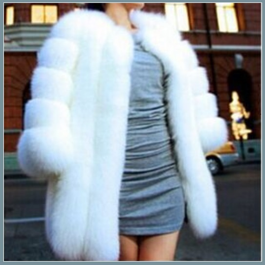 Long Full Pelt Snow White Fox Faux Fur O Neck with Long Sleeves Luxury Fur Coat