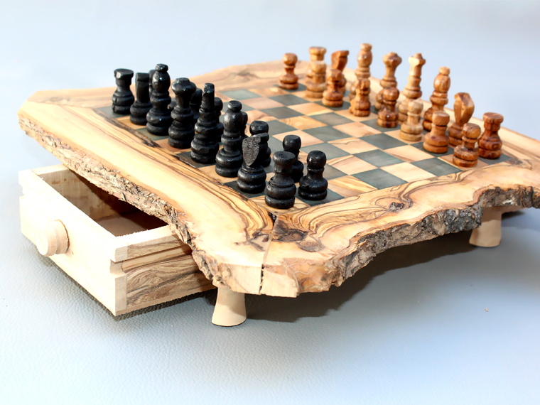 Great Rustic Edge Olive Wood Chess Board   Small And 50 Similar Items