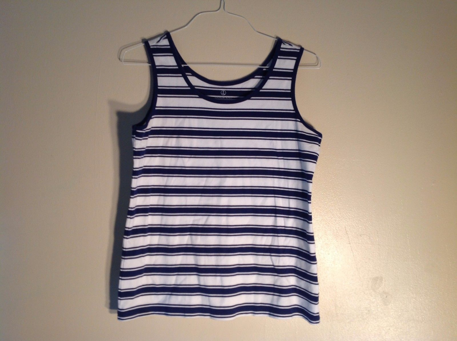 Land's End 100% Cotton Medium Deep Blue White Horizontal Strip Tank Sleeveless