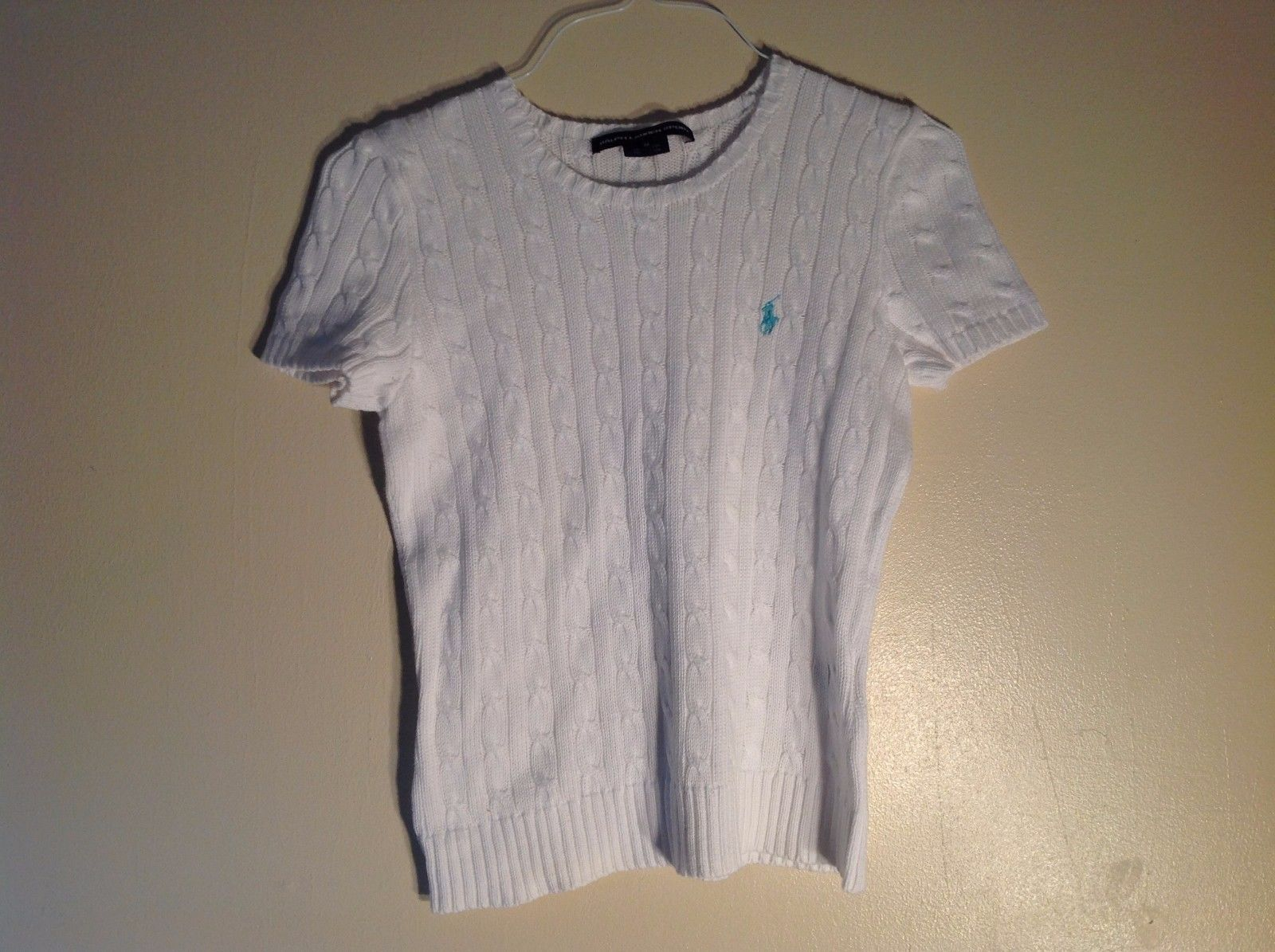 Ralph Lauren Sport 100% Cotton Medium Pure White Short Sleeve Sweater Tee