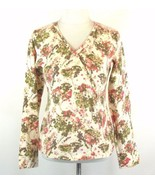 J. JILL Size S 6 Floral Crossover Cotton Blend Sweater Mint - $20.99