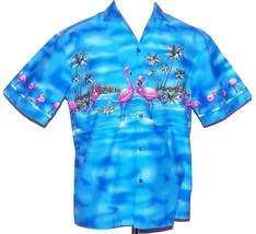 KY's Pink Flamingos Palm Tree Oahu Diamond Head Blue Hawaiian Camp Aloha... - $44.99