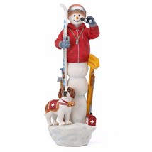 Lenox 2016 Pencil Snowman Figurine Ski Patrol Annual Snowy Rescue Dog Skis NEW - $54.94